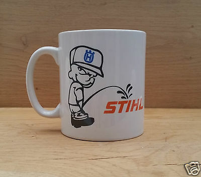 "FUNNY NOVELTY ""BADBOY PEEING ON STIHL"" MUG Tree Surgery/Forestry/Chainsaw"