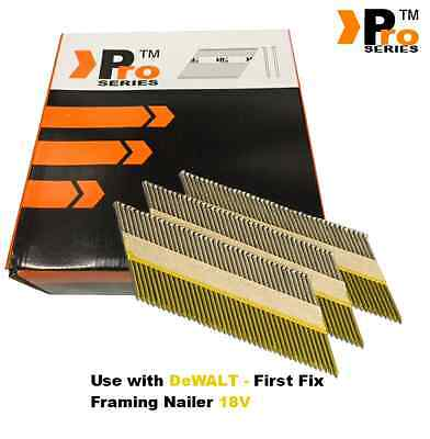 2000 x 90mm galv ring Framing Nails for DEWALT 18vCordless First Fix degree 34