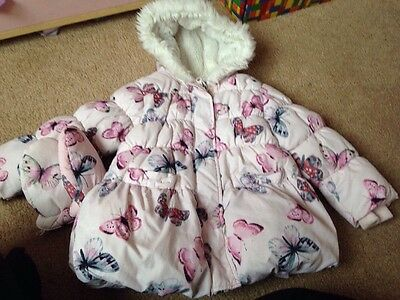 Girls Age 2-3 Years Pink Butterfly M&s Winter Coat With Mittens