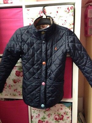 Girls Age 8 Joules Navy Blue Quilted Coat Jacket