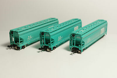 N Scale - Penn Cent: 4-Bay Covered Hoppers - Set Of Three - Exc Cond