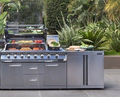 NEW GASMATE Platinum Professional 6 Burner BBQ 100% Stainless Steel + Bench