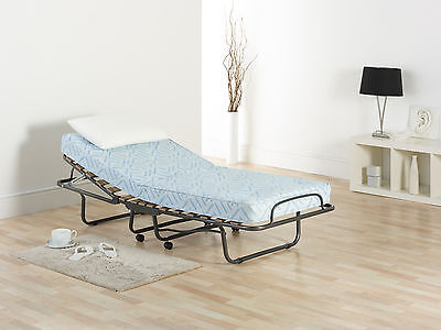 Single Folding Adjustable Guest Bed / Z Bed with Sprung Interior Mattress.