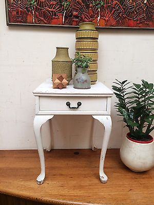 Vintage Retro Shabby Chic Bedside Table Single Drawer