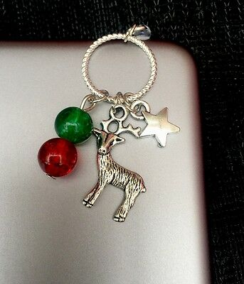 Reindeer Xmas Dust Plug Dangle Charm For Mobile Phone * Tablet* iPad* iPhone