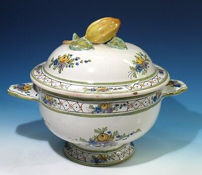 Vintage Handpainted Faience Pottery Tureen & Cover.