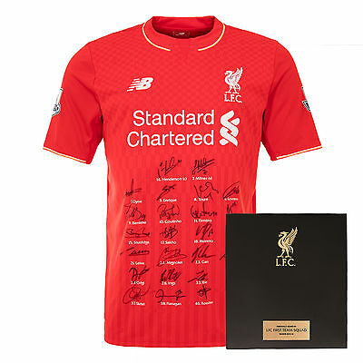 Liverpool FC  LFC 15/16 Squad Signed Boxed Shirt  Official