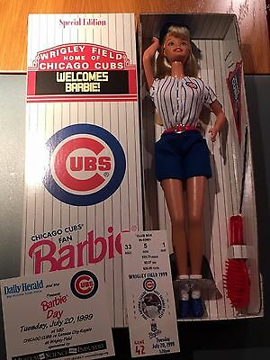 NRFB 1999 Chicago Cubs Fan Barbie Doll Special Edition Game Giveaway w/ticket