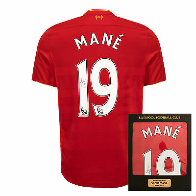 Liverpool FC  LFC 16/17 Mane Signed Boxed Shirt Official