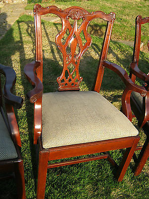 Chippendale Style Mahogany Armchairs (Carvers) - set of Four - Victorian
