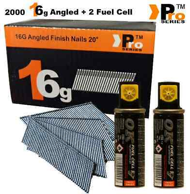2000 x 38mm 16G Second Fix Nails Paslode Hitachi Bostitch (Angled)+ 2 Fuel Cells