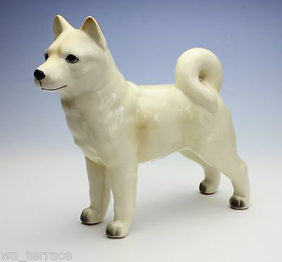 "Japanese Shiba Inu Creamy White Standing Dog Porcelain Figurine 6"" Long Small"