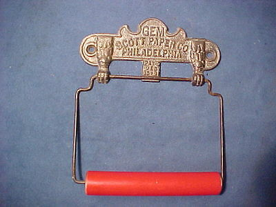 "1891 Rare Antique Toilet Paper Holder ""gem Scott Paper Co Philadelphia"" Nos Mint"
