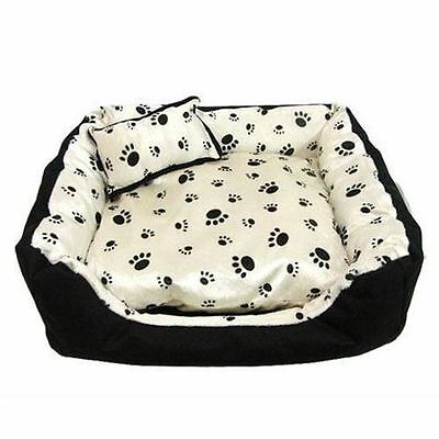 X Display Satin Soft Pet Bed Clearance - Black Paw Print On Cream X-Large