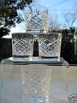 Stourbridge Glass 4 Whisky Tumblers 4 Cross and Fa  Cut Whisky Glass x 4