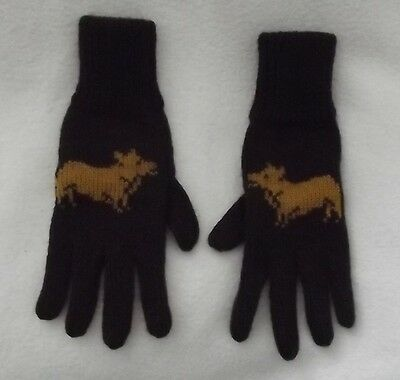 CORGI dog on NEW knitted adult size GLOVES dark brown colour