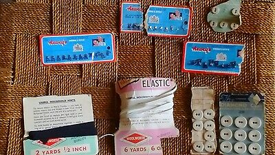 Vintage Buttons,  Woolworths Elastic,  Hooks & Eyes Lot