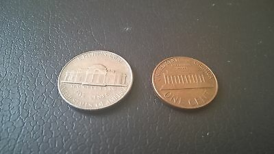 Five Cent Coin (1990) & One Cent Coin (1974) from USA in Good Condition.