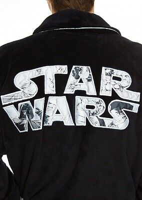 STAR WARS Genuine Mens Official Adult Fleece Dressing Gown Night Bath robe Black