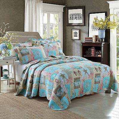 100% Cotton Coverlet / Bedspread Set Quilt Queen King Size Bed 230x250cm Ocean