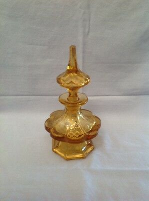 French or Bohemian Amber  Glass Perfume Bottle, 19th Century,
