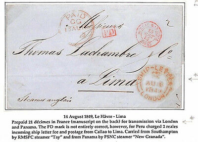 AF78 1849 PERU MAIL France Le Havre per SHIP LETTER LONDON Lima {ex Bargholtz}