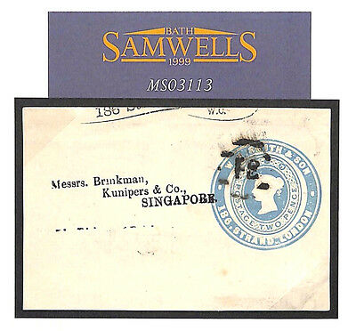 MS3113 1879 GB ADVERTISING RING *W.H.Smith* Postal Stationery 2d Blue Singapore