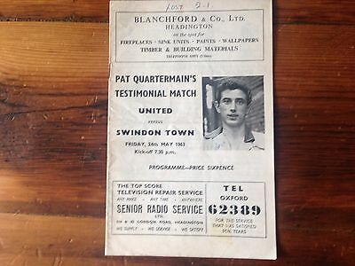 Oxford Utd v Swindon T Pat Quartermans Testimonial 62-63