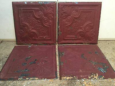 "4 - 12"" x 12"" Antique Ceiling Tin Tile Vintage Reclaimed Salvage Re Purpose Art"