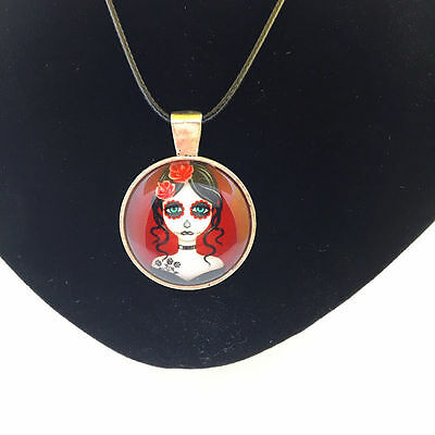 day of the dead make up SILVER sad GOTHIC CUTE MYSTICAL glass necklace pendant