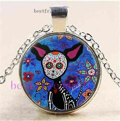 day of the dead CHIHUAHUA ART MEXICAN DOG GOTHIC CUTE  glass necklace pendant