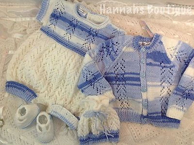 Hannahs Boutique Hand Knitted 4Pc Romper & Cardi Set For 6-12Mth Baby Or Reborn