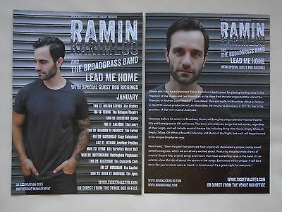 "RAMIN KARIMLOO Live in Concert ""Lead me Home"" 2017 UK Tour Promo tour flyers x 2"
