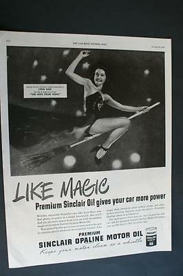 1947 Sinclair Opaline Motor Oil Ad Halloween Woman on Broomstick