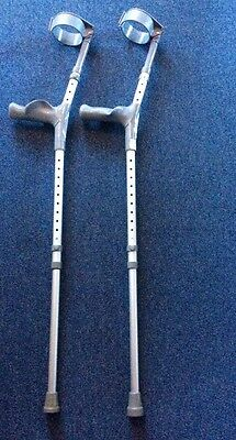 Multiple Height Adjustable Elbow Crutches With Plastic Handle Left & Right