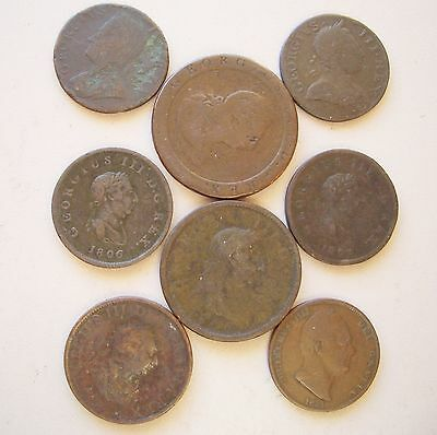 UK,  Eight old copper coins, 1740 - 1831