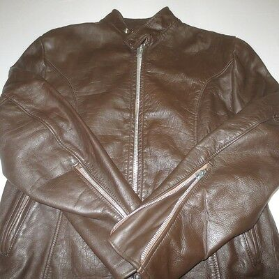 Vtg 60S Serval Brown Leather Cafe Racer Motorcycle Jacket W/ Lining Mens Small