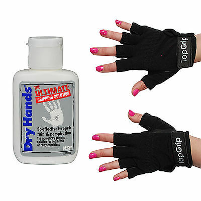 Dry Hands Ultimate Grip Solution 1oz Bottle & Top Grip X-Small Black Tack Gloves