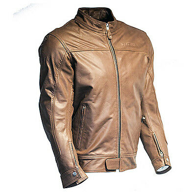Richa Cafe Leather Motorcycle Motorbike Jacket - Brown
