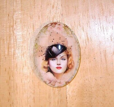 Glamour Girl Glitter Unset Handmade Art Bubble Cameo Cabochon 30X40mm