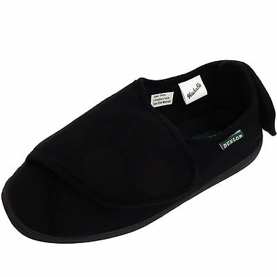 Mens Black Dunlop Orthopaedic Comfort Wide-Fit Indoor Slippers Boots Shoes