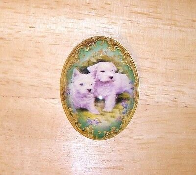 Cute White Puppies Glitter Unset Handmade Art Bubble Cameo Cabochon 30X40mm