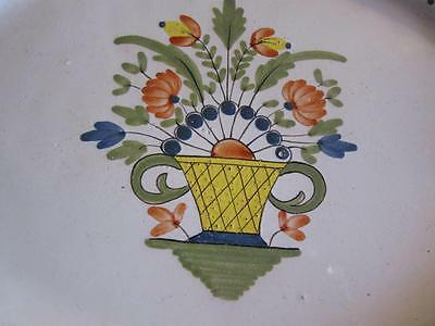 A Really Beautiful French Vintage Faience Hand- Painted Large  Floral Plate
