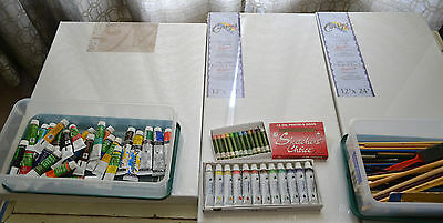 Art Supplies - Stretched Canvas, Acrylic Paints,