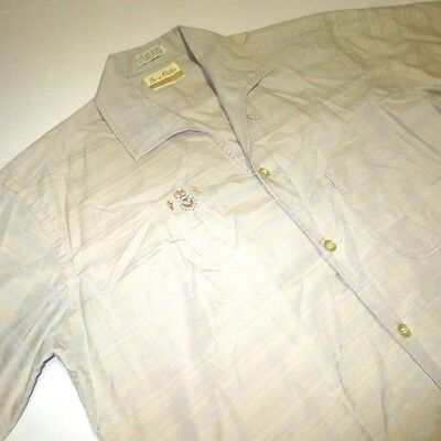 Vintage 60S In-N-Outer Loop Collar Rockabilly Striped Shiny Button Shirt Mens M