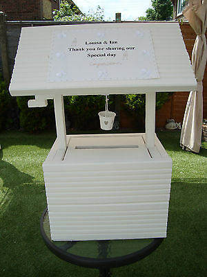 Solid wooden wedding wishing well for sale free postage in uk + Bucket + plaque.