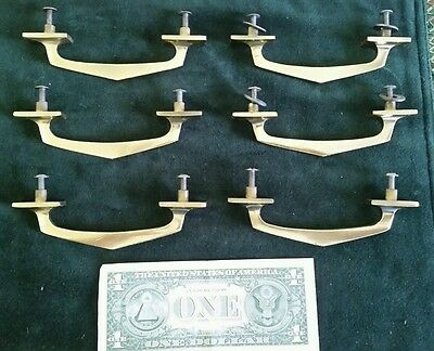 Set Of 6 Antique,vintage Heavy Cast Brass Drawer Pulls,handles Restored
