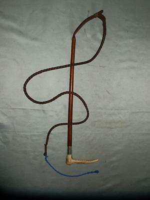 Antique Ladies Leather Coverd Hallmarked Swaine & Adeney Hunting Whip & Lash.