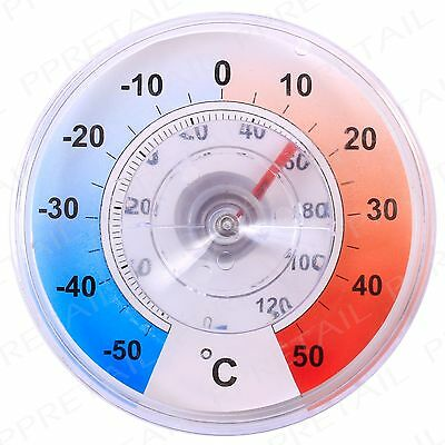 READ OUTSIDE TEMPERATURES INSIDE Garden Dial Thermometer Weather Station Suction