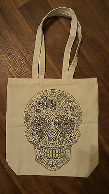 Day Of The Dead Sugar Skull Canvas Tote Bag.new.fabric Painting.